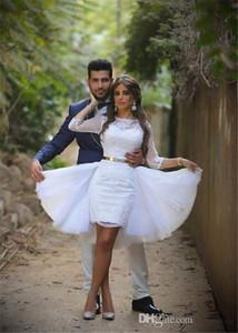 Fashion Design Short Wedding Dresses Tulle Overskirt Half Sleeve Lace Sheath 2020 Bridal Gowns vestido de noiva Custom Size