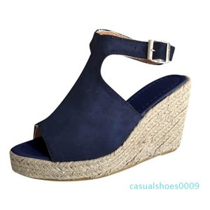 Women's Sandals Ladies Fashion Solid Wedges Casual Buckle Strap Roman Sandals comfortable Women Shoes High quality c09