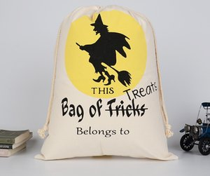 Halloween Canvas Candy Bag Gift Bags Trick or Treat Bags Draw Pocket For Kids Event Party Supplies Decor