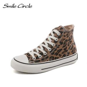 Smile Shoes 2019 Leopard Sneakers Schuhe Flache Lässige Frauen High-Top Print Frauen Outdoor Spring Circle Girl Leinwand Wrfxw