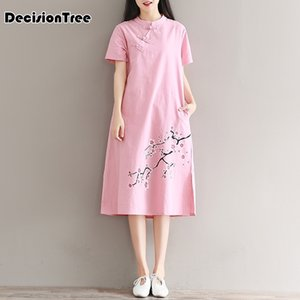 Этническая одежда 2021 китайское традиционное платье женщины Qipao цветок цветок вышивка бельневые шелковые Vestidos Cheongsam