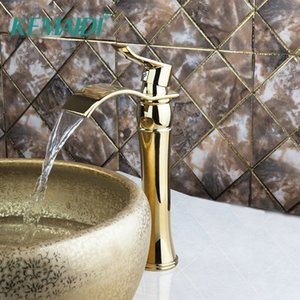 KEMAIDI السامي الجديد الطابق حمام حوض المغسلة خلاط صنبور مصقول الذهب الحنفية الشلال الحنفية حمام الطابق الخيالة