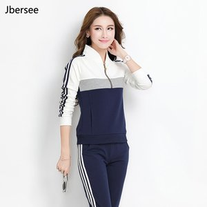 Women's Clothing Spring Autumn Female 2 Piece Pullover High Quality Stand Collar Two Piece Set Casual Women Slim Tracksuit Set YZ8006