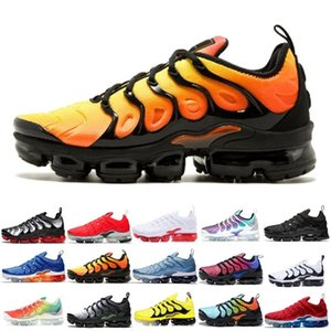 2019 Novas TN Além disso Running Shoes Homens Mulheres jogo real do arco-íris branqueada aquático TRIPLE BRANCO PRETO Fades azul VOLT instrutor Designer Sneakers 36-45