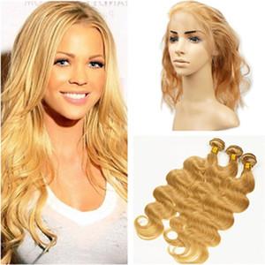 """# 27 Strawberry Blonde Body Wave перуанского Human 3Bundles волос 360 Закрытие Honey Blonde Волнистых 360 Lace Фронтальной 22.5x4x2"""" с переплетениями"""