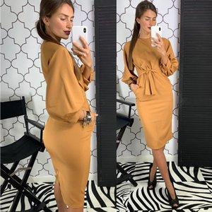 Women Sexy Sheath Straight Party Dress Ladies Lantern Sleeve o Neck Elegant Solid 2020 New Fashion Knee Length Vintage