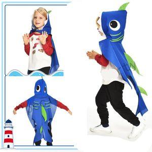 Костюм акулы для детей девочки-мальчики с капюшонами притворяются, играют в мыс одеваются вечеринки сувениры синие дети рождественские подарки