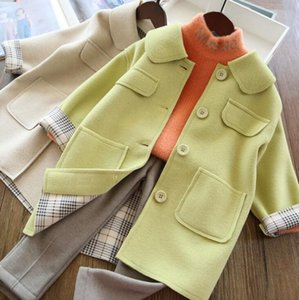 Девушки шерстяные пальто осенью и зимой 2019 новых девушек среднего стиля среднего длинного шерстяного пальто Детское утолщенное пальто