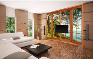 modern living room wallpapers windows lake woods 3d background wall