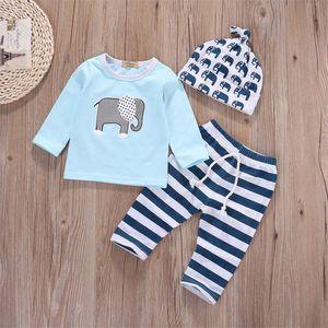 Bebê Meninos Meninas Elefante Impresso Manga Longa Céu Azul Tops + Calça Listrada + Chapéu 3 PCS Outfit Infantil Criança Primavera Outono Roupas Conjunto Terno