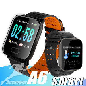 A6 Pulseira relógio inteligente Touch Screen resistente Smartwatch inteligente Pulseira Monitor de esporte que funciona com pacote de varejo
