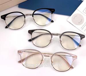 Suave Marca diseñador de las mujeres de los hombres retro de la manera gafas redondas doble de la nariz del marco del puente de metal Acetato Gafas con la caja de cuero ALIO