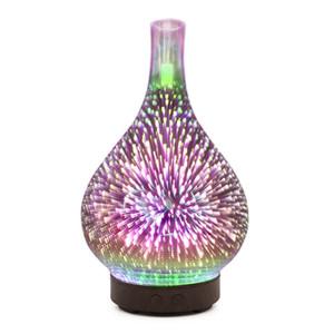 3D фейерверк светодиодные ночь свет увлажнитель воздуха стеклянная ваза форма аромат эфирное масло диффузор туман чайник ультразвуковой увлажнитель подарки