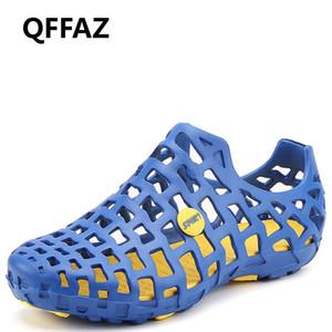 QFFAZ Men primavera estate 2019 Sandali da uomo traspirante pantofole luce appartamenti esterni Scarpe da spiaggia per uomo Scarpe casual da passeggio