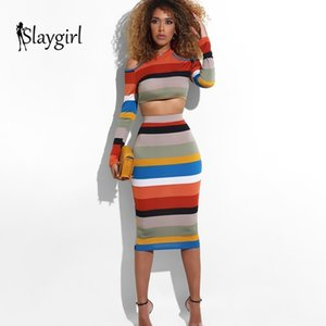 Slaygirl Zipper Pullover Long Sleeve T Shirt Two Piece Dress Donna Rainbow Stripe Two Piece Set Sexy Party 2 Set 2 pezzi