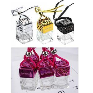 Carro do carro do cubo Carro de garrafa de penduragem de perfume de perfume para Óleos Essential Difusor Fragrância Frasco de vidro vazio 4 clors