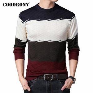 COODRONY Marca camisola Men Primavera Outono malhas de algodão pulôver Casual Pull O-Neck Homme Moda colorida C1067 camisa listrada