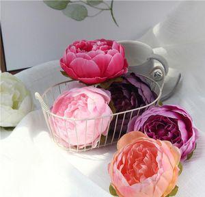 Fiore parete teste fiore della Rosa Nuova seta artificiale decorativo del partito della decorazione del fiore Wedding Bouquet artificiale bianco Roses Bouquet HH9-2604