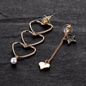 Sıcak Satış Kadınlar Sweet Güzel Üç Hollow Kalp Dangle Küpe Asimetri Siyah Yıldız Kalp Simüle İnci Damla Küpe Brincos