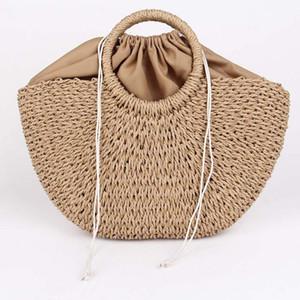 Designer-Man-made Straw Bag Mulheres Praia Tecelagem senhoras Totes da palha envolvidas bolsa de praia em forma de lua Natural Basket Handbag