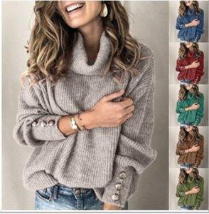 Manchar 2021 Europeu moda outono e inverno casuais de alta líder botão boca cor sólida camisola de mangas compridas, apoiar lote misto