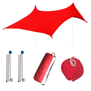 2020Beach Sunshade Tent, Portable Canopy Sunshade, Lycra Fabric Beach Tent + 4 Sandbags + 2 Support Rod+ 4 Ropes+ Storage Bag, 210X210X160cm