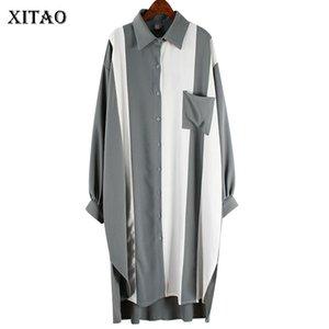 -Breasted único Xitao Vestidos Contraste Plus Size manga comprida Chiffon Vestidos Primavera 2020 de Moda de Nova Tops Mulheres Roupa XJ3565