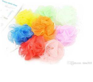 Al por mayor Nueva malla de nylon colorido de la flor del baño Baño Spa Ducha depurador de la bola del baño de lavado colorido de baño Cepillos Esponjas 8g I002