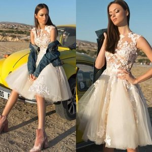2019 Country Lace Short Brautkleider Applizierte A Line Empfang Plus Size Brautkleider Vestido Mi Kleid