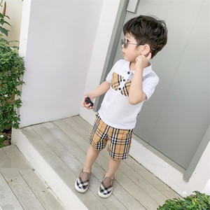 Kids cotton plaid polos summer new children lapel pliad short sleeve tops boys and girls cotton T-shirt navy white A01606