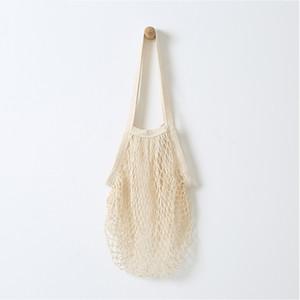 NUEVO envío plegable Bog Long / Short Handle Mesh Net Cadena de compras Bolsa de almacenamiento de fruta reutilizable Gran algodón