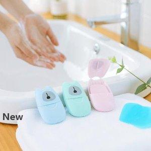 50sheets / adet Tek kullanımlık Karşıtı toz Mini Seyahat Sabun Kağıt Yıkama El Banyo Temizleme Portatif Kutulu Köpük Sabun Kağıt Kokulu Sayfaları EEA1532