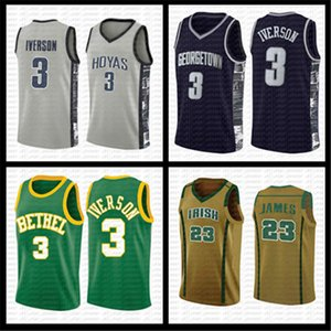 mens caril 3 Allen Iverson 3 LeBron James 23 23 Michael 13 Harden Georgetown NCAA Basketball Jersey Universidade