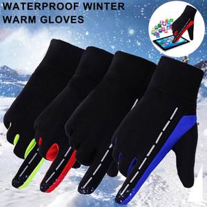 Hommes Femmes d'hiver chaud Gants de ski Gants de sport en suède en cuir doublé en polaire Gants de conduite à écran tactile