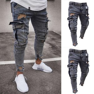 Men's Stretchy Ripped Skinny Biker Destroyed Taped Slim Fit Pants T200415
