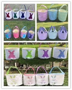 Easter Bunny Basket Bag Easter Egg Hunt Basket for Kids Coelho Tote da lona do partido comemore decoração ovos de doces e presentes Carry Bucket