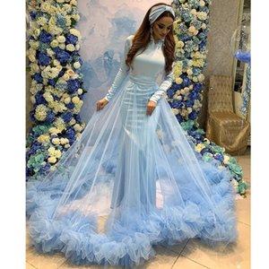 Única sirena azul musulmán vestidos de baile con falda de cuello alto Manga larga plisado Celebrity Vestidos de barrido de tren de tul Vestido formal robe de mairee