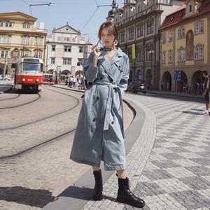 Женская тренчкот 2020 новых джинсы пальто весна Elegant отворот Denim ремень Long Большого размера Trench Женщина двубортная Ветровку