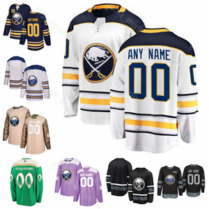 Custom Buffalo Sabres 71 Evan Rodrigues Jersey Hockey su ghiaccio 37 Casey Mittelstadt 4 Zach Bogosian 19 Jake McCabe Zemgus Girgenson Blu Bianco