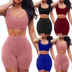 Sexy Sommer-Frauen Bodycon zweiteiliges Kleid Crop Top-Rock-Satz Short Sleeve Outfits Solid Color Kleidung Set Größe S-XL