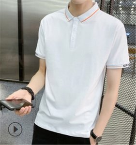 Mens Designer Striped Print Polos Turn Down Collar Regular Tees Short Sleeve Solid Color Mens Casual Tops