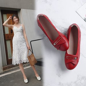 Pop2019 Tempo libero Trend Time Set fondo piatto Piumino in vera pelle Doug 3 colori Fibbia quadrata Ventilation Will Shoe Tide Scarpe da donna