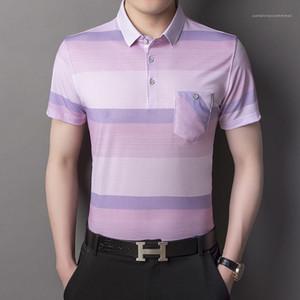 Button magliette risvolto Mens casuale comodo della banda della stampa Polo Camicia Maschio Contrasto Color Designer Abbigliamento Uomo