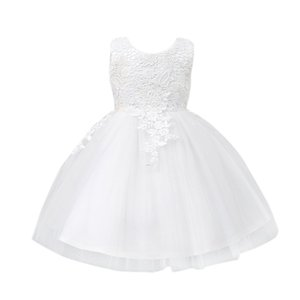 Toddler Baby Tutu Dress White Ball Gown Party Stage Princess Dresses Bridesmaid Flower Girl Clothes Children's Dress White 6T