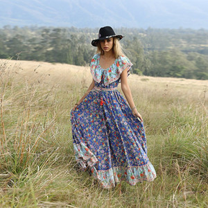 AECU 2020 femmes Boho Floral Robe longue impression Plage Maxi Robe Encolure Vintage Big plissés Femme Vestidos