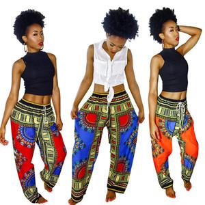 Pantalones de pierna ancha de las mujeres de Bohemia Impreso Digital Pantalones Sueltos Verano Anaranjado Vintage Ankara Pantalones Moda Señora Pantalones de Bolsillo YFA1139