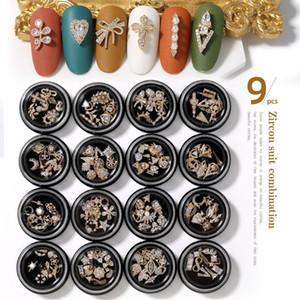 Acces Nail lega zircone nappa pendente di arte della decorazione della zircone Strass Nail Art Gioielli 9pieces metallo 3D del diamante di Zircon Nail