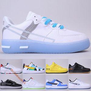 Nike Air Force 1 React White Light Bone Low Skateboard Chaussures Hommes Femmes Mode Lavage à la main Froid Corée du Sud Musique Outdoor Sneakers Taille 36-45