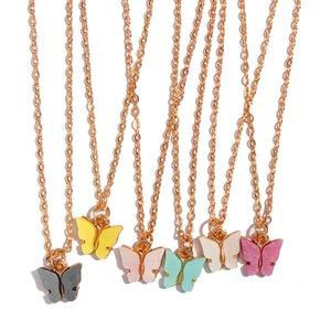 Collier coréenne papillon pour les femmes Choker Colliers Pendentif chaîne acrylique Bijoux fantaisie