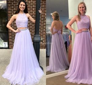 2019 Wunderschöne Zwei Stücke Prom Kleider Backless Perlen Sweep Zug Kristalle Formale Party Abendkleider Elegantes Kleid Für Besondere Anlässe Vestidos